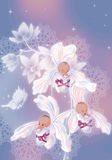 Orchids. Three babies-girls sitting in orchids. From above the place that you could enter the congratulation is left stock illustration