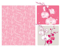 Orchids. Design elements with orchids and orchid silhouette royalty free illustration