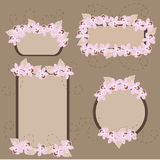 Orchids in banners. Set of retro stylized floral banners stock illustration