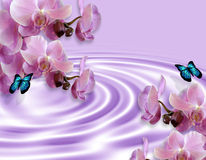 Orchids And Butterflies Fantasy Stock Photography