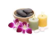 Orchids, Candles and Pebble Royalty Free Stock Photo