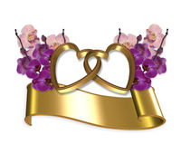 Orchids and gold hearts banner. Image and illustration composition of linked gold hearts with orchids and banner for wedding or anniversary clip art Stock Images