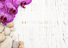 Orchids and massage stones Royalty Free Stock Photo