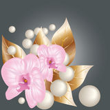 Orchids and pearls. Decorative illustration with orchids and pearls stock illustration