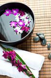 Orchids in spa setting Stock Photography