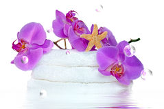 Orchids and starfish with bubbles Stock Photography