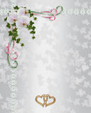 Orchids Wedding Invitation border. Image and Illustration composition background design for wedding, engagement party invitation or greeting card on satin like Royalty Free Stock Photos
