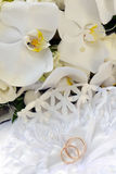 Orchids and wedding rings Royalty Free Stock Photos