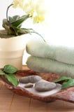 Orchied, pedras da massagem, areia, fotografia de stock royalty free