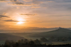 Orcia-Tal am nebelhaften Morgen, Toskana, Italien, Europa Stockfoto