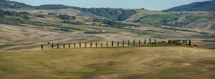 ` ORCIA, TUSCANY-ITALY DI VAL D, IL 30 OTTOBRE 2016: Paesaggio scenico della Toscana con Rolling Hills e le valli in autunno immagine stock