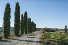 ` ORCIA, TUSCANY-ITALY VAL D, AM 30. OKTOBER 2016: Szenische Toskana-Landschaft mit Rolling Hills und Tälern im Herbst Lizenzfreies Stockfoto