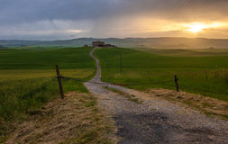 Orcia valley in the misty morning, Tuscany, Italy Royalty Free Stock Photography