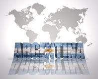 Ord Argentina på en världskartabakgrund royaltyfri illustrationer