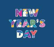 Ord Art Illustration för begrepp för dag för ` s för nytt år royaltyfri illustrationer