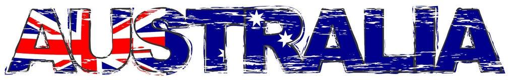 Ord AUSTRALIEN med den australiska nationsflaggan under den, bekymrad grungeblick stock illustrationer