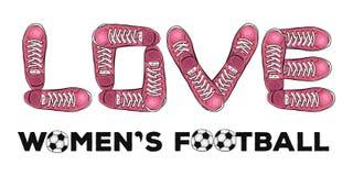 Ord av förälskelse till kvinnors fotboll Sportaffisch med gymnastikskor vektor Fotografering för Bildbyråer