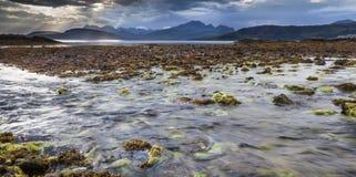 Ord beach on the Isle of Skye. Ord beach and Cuillin hills on the Isle of Skye in Scotland stock photo