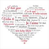 Ord CLOUD Förälskelse för uttryck I dig i många språk Arkivfoto