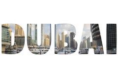 Ord DUBAI över symboliska ställen Royaltyfri Foto