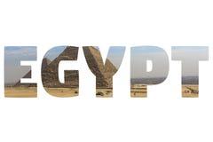 Ord EGYPTEN över symboliska ställen Royaltyfri Foto