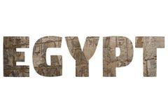 Ord EGYPTEN över symboliska ställen Royaltyfri Fotografi