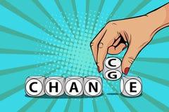 Ord för ändring för hand för affärskvinna för popkonst på kvarter till möjligheten vektor illustrationer