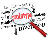 Ord för förstoringsglas för prövkopia för prototypmodellprodukt Fotografering för Bildbyråer