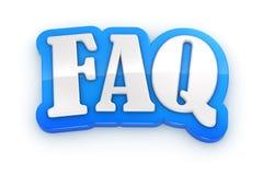 Ord för FAQ 3D på vit bakgrund med den snabba banan Arkivfoto