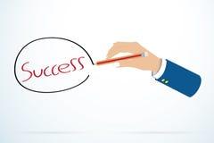 Ord för framgång för affärsmanhandhandstil med blyertspennan, affärsidé Arkivfoto