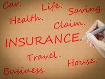 Ord för handteckningsförsäkring Arkivbild