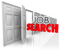 Ord för Job Search Open Door New karriärtillfälle 3d Royaltyfria Foton