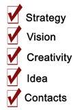 Ord för kontakter för idé för strategivisionkreativitet royaltyfri fotografi
