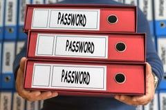Ord för lösenordadministrationsbegrepp framförd mappbild för begrepp 3d Cirkelröra Arkivfoto