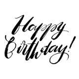 Ord för lycklig födelsedag Räcka utdragen idérik kalligrafi och borsta pennbokstäver, designen för feriehälsningkort och stock illustrationer