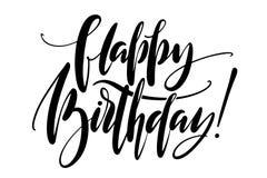 Ord för lycklig födelsedag Räcka utdragen idérik kalligrafi och borsta pennbokstäver, designen för feriehälsningkort och vektor illustrationer
