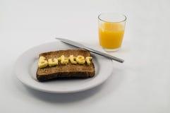 ord för smörplattarostat bröd Arkivfoto