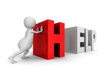 Ord för text för HJÄLP för vit push för man 3d rött stock illustrationer