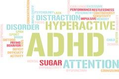 Ord fördunklar med ADHD stock illustrationer