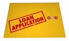 Ord för guling för lånapplikation stämplade kuvert Arkivfoto