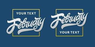 Ord Hello Februari i en fyrkantig ram med kapaciteten att använda din text Mall för att redigera Redigerbar illustration för vekt royaltyfri illustrationer
