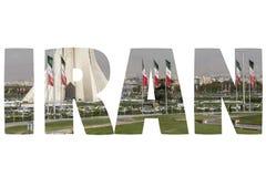 Ord IRAN över symboliska ställen Royaltyfri Fotografi