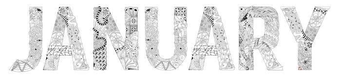Ord JANUARI för att färga Dekorativt zentangleobjekt för vektor stock illustrationer