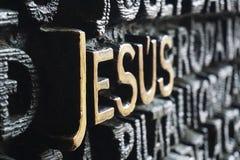 Ord Jesus i bokstav på barcelona royaltyfri foto