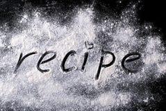 Ord på receptmjölet Arkivbilder