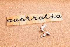 Ord på sand Australien Arkivbild