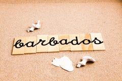 Ord på sand Barbados Royaltyfri Bild