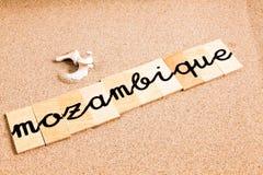 Ord på sand Moçambique Arkivbilder