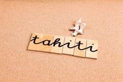 Ord på sand Tahiti Arkivbilder