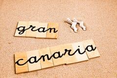 Ord på sandgranen canaria Royaltyfri Foto